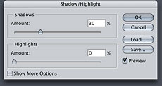 Shadow/Highlight Dialog
